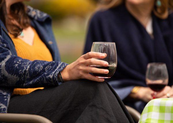 Wine glasses in hands